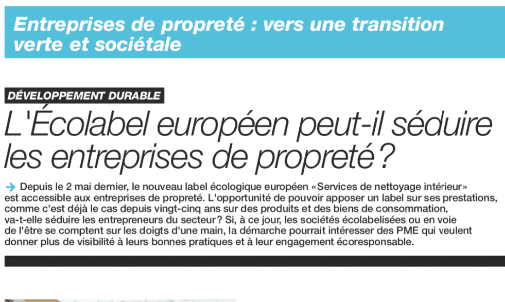 """Article """"L'écolabel européen peut-il séduire les entreprises de propreté ?"""""""